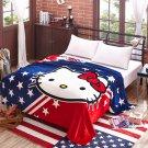Hello Kitty #03 fleece blankets 150*200cm Warm Sheet Flat Bedsheet For Kids