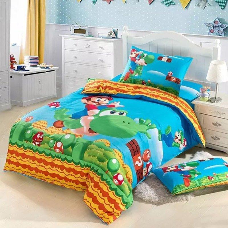 Queen Size Super Mario Cartoon bedding set duvet cover bed sheet pillow cases