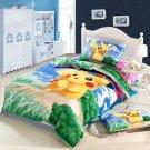 Queen Size Pokemon Pikachu Cartoon bedding set duvet cover bed sheet pillow cases