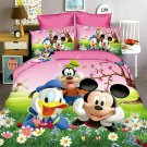 Twin Size 4pcs Mickey Minnie Mouse Donald Duck #12 bedding set duvet cover flat sheet pillow cases