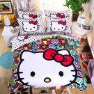 Full Size 4pcs Hello Kitty New Design #02 bedding set duvet cover flat sheet pillow cases