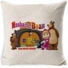 Masha Dolls & Bear #02 Cushion Cover Square Plain  45cm*45cm