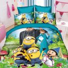 Twin Size 3pcs Minion #08 bedding set duvet cover flat sheet pillow cases for Christmas Gift