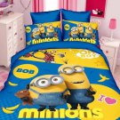 Twin Size 3pcs Minion #11 bedding set duvet cover flat sheet pillow cases for Christmas Gift
