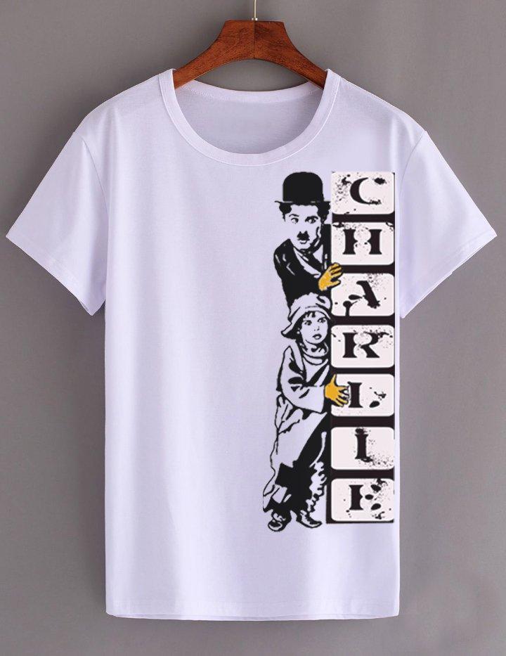 CHARLIE CHAPLIN FUNNY WHITE TEE