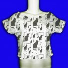 Cat pattern white crop tee