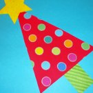 Iron On Patch Applique Rainbow Polka Dot RED CHRISTMAS Tree With Yellow Star Green Stripe Trunk