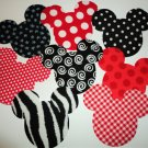 8 Iron On Fabric Applique Themed MICKEY~MINNIE Mouse Appliques...Red And Black Mix
