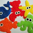 5 Childrens Girl Or Boy Iron On Applique Set..BEACH THEME Whale Octopus Fish Starfish Lobster