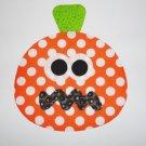 LARGE Iron On Applique Orange Polka Dot PUMPKIN Halloween Fall Or Harvest...See Size Below