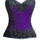 Purple Satin Black Handmade Sequins Gothic Burlesque Bustier Waist Training Overbust Corset Costume