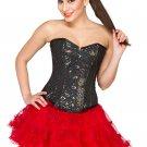Black Cotton Silk Handmade Sequins Overbust Red Tissue Tutu Skirt Corset Dress