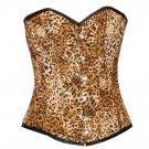 Women's Sexy Leopard Print Polyester Gothic Waist Cincher Overbust Corset Top