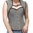 Black White Dotted Polyester Halloween Costume Bustier Overbust Top & With Shrug