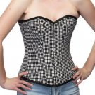 Black White Polyester Goth Burlesque Halloween Party Costume Overbust Corset Top