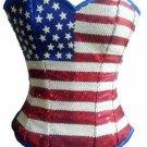 Blue Satin USA Flag Red White Sequins Halloween Burlesque Overbust Corset