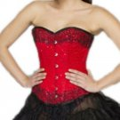 Red Satin Handmade Sequins Halloween Burlesque Waist Training Overbust Corset