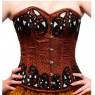 Brown Satin Sequins Halloween Burlesque Bustier Waist Cincher Overbust Corset