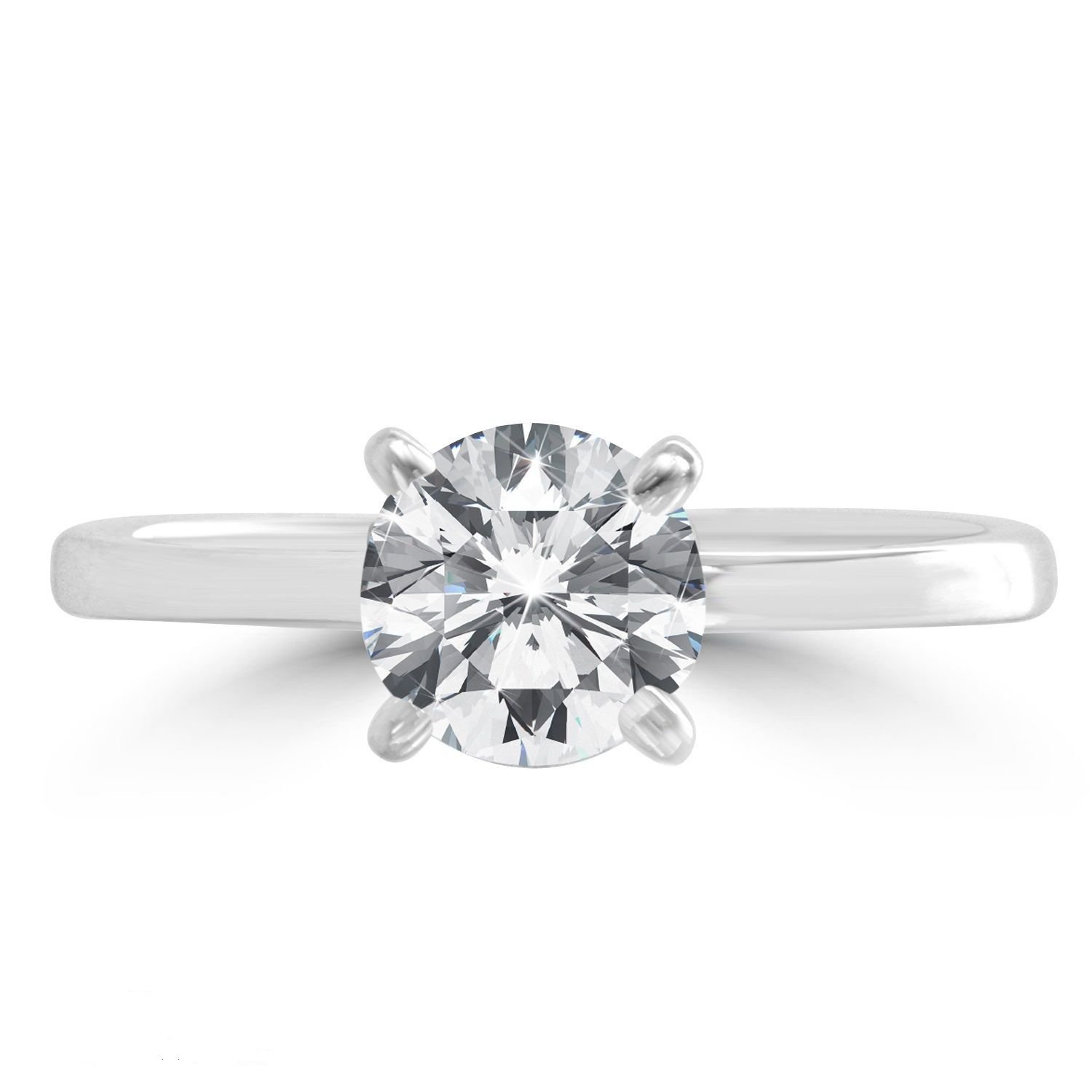 Genuine HUGE 1.55 CT Solitaire Diamond Engagement White Gold Ring