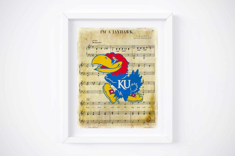 "KU ~ Kansas University ~ I'm A Jayhawk Music Sheet Art Print: 8"" x 10"""