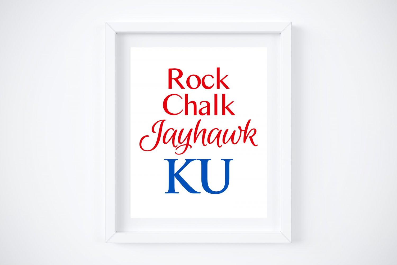 "KU ~ Kansas University ~ Rock Chalk Jayhawk Art Prints:  8"" x 10"" (Plain and Glitter)"
