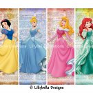 "Disney Princesses ~ 12 Layered Digital Art Bookmarks ~ 2.5"" x 7"""