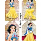 """Princesses ~ 4 Tag Pages ~ 3"""" x 5"""" - Snow White, Cinderella, Sleeping Beauty & Ariel"""