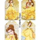 "Princesses ~ 4 Tag Pages ~ 3"" x 5"" - Belle, Jasmine, Pocahontas & Mulan"