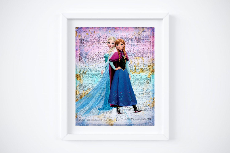 """Frozen ~ Elsa & Anna Dictionary Digital Art Print ~ 8"""" x 10"""""""