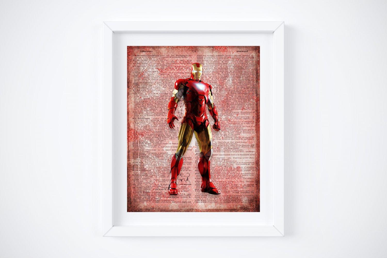 "Iron Man ~ Marvel Dictionary Digital Art Print ~ 8"" x 10"""