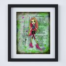 "Venus McFlytrap ~ Monster High Layered Digital Art Print ~ 8"" x 10"""