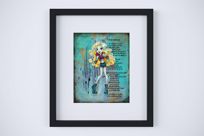 "Lagoona Blue ~ Monster High Layered Digital Art Print ~ 8"" x 10"""