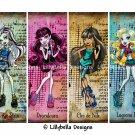 Monster High Girls ~ 12 Digital Art Bookmarks ~ with names