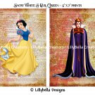 """Snow White and Evil Queen Dictionary Digital Art Prints ~ 5"""" x 7"""" ~ Good & Evil"""