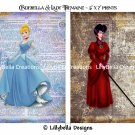 "Cinderella and Lady Tremaine Dictionary Digital Art Prints ~ 5"" x 7"" ~ Good & Evil"
