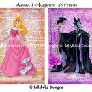 "Aurora and Maleficent Dictionary Digital Art Prints ~ 5"" x 7"" ~ Sleeping Beauty ~ Good & Evil"