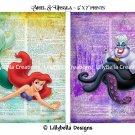 "Ariel and Ursula Dictionary Digital Art Prints ~ 5"" x 7"" ~ The Little Mermaid ~ Good & Evil"