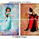 "Jasmine and Jafar Dictionary Digital Art Prints ~ 5"" x 7"" ~ Aladdin ~ Good & Evil"