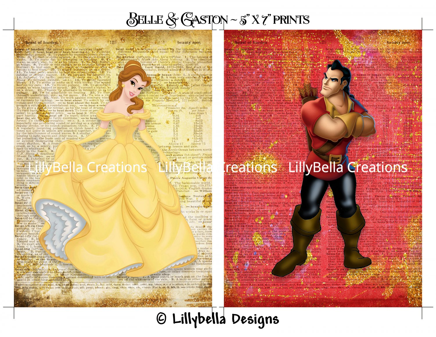 """Belle and Gaston Dictionary Digital Art Prints ~ 5"""" x 7"""" ~ Beauty and the Beast ~ Good & Evil"""