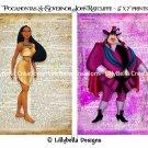 "Pocahontas and Governor John Ratcliffe Dictionary Digital Art Prints ~ 5"" x 7"" ~ Good & Evil"