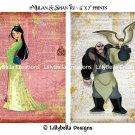 "Mulan and Shan Yu Dictionary Digital Art Prints ~ 5"" x 7"" ~ Good & Evil"