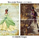 "Tiana & Doctor Facilier Dictionary Digital Art Prints ~ 5"" x 7"" ~ Princess & the Frog ~ Good & Evil"