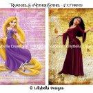 """Rapunzel & Mother Gothel Dictionary Digital Art Prints ~ 5"""" x 7"""" ~ Tangled ~ Good & Evil"""