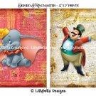 "Dumbo & The Ringmaster Dictionary Digital Art Prints ~ 5"" x 7"" ~ Good & Evil"