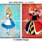 "Alice and Red Queen Dictionary Digital Art Prints ~ 5"" x 7"" ~ Good & Evil, Alice in Wonderland"