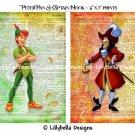 "Peter Pan & Captain Hook Dictionary Digital Art Prints ~ 5"" x 7"" ~ Good & Evil, Neverland"