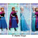 "Disney Frozen & Frozen Fever ~ 12 Layered Digital Art Bookmarks ~ 2.5"" x 7"" - Elsa and Anna"