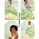 "Disney Princesses ~ 16 Layered Digital Art Tags ~ 3"" x 5"" - Tiana, Rapunzel, Merida & Moana"