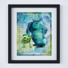 """Monsters Inc Dictionary Digital Art Print ~ 8"""" x 10"""" ~ Mike & Sully"""