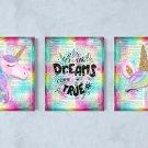 "3 Unicorn Dictionary Digital Art Prints ~ 8"" x 10"" Let the Dreams Come True"